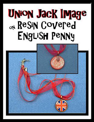 Union Jack Pendant On English Copper Penny Original by Carla Parris