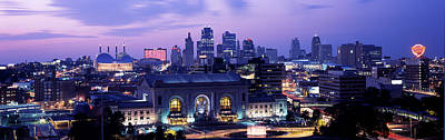 Union Station At Sunset With City Print by Panoramic Images