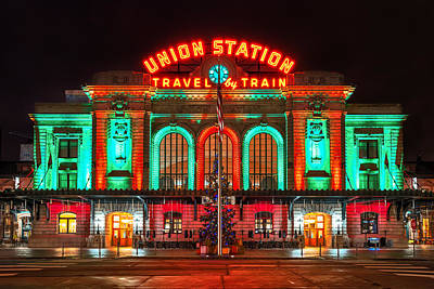 Colorado Christmas Photograph - Union Station  by Darren  White