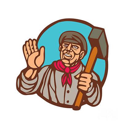 Union Worker With Sledgehammer Linocut Print by Aloysius Patrimonio