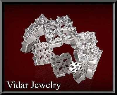 Vidar Jewelry Jewelry - Unique 14k White Gold Diamond Flower Woman Wedding Ring by Roi Avidar