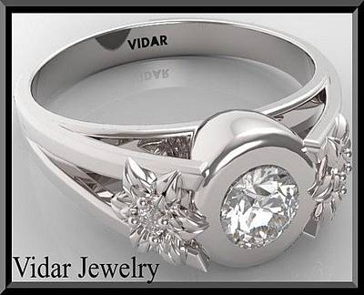 Vidar Jewelry Jewelry - Unique Flower Diamond 14k White Gold Engagement Ring  by Roi Avidar