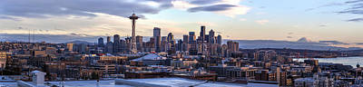 Unique Seattle Evening Skyline Perspective Print by Mike Reid