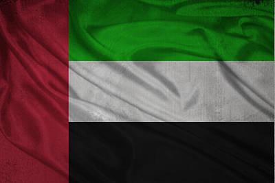 Waving Flag Mixed Media - United Arab Emirates Flag Waving On Canvas by Eti Reid
