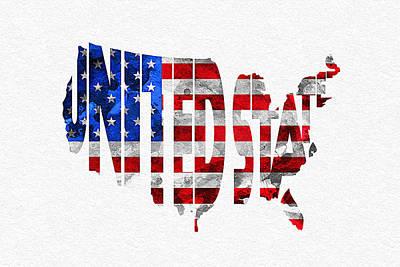 United States Typographic Map Flag Print by Ayse Deniz