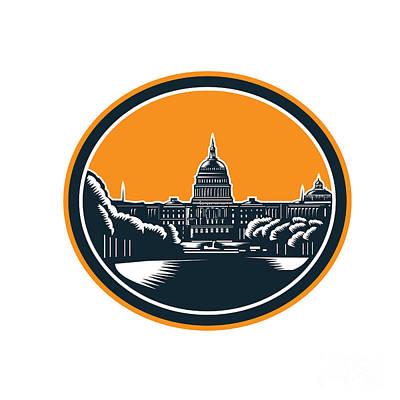 Capitol Building Digital Art - United States Capitol Building Woodcut Retro by Aloysius Patrimonio