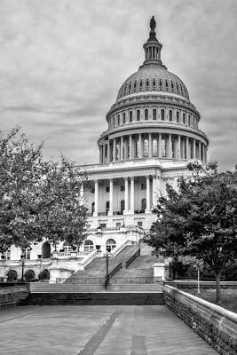 United States Capitol Bw Print by Susan Candelario