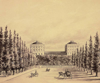 Horse And Cart Drawing - United States Capitol From Pennsylvania Avenue by Benjamin Henry Latrobe