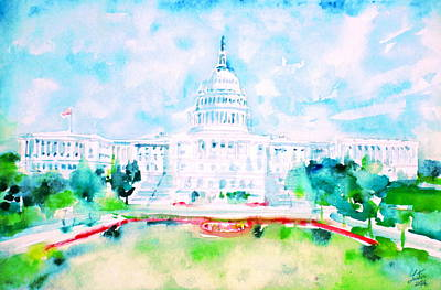 Federal Government Painting - United States Capitol - Watercolor Portrait by Fabrizio Cassetta