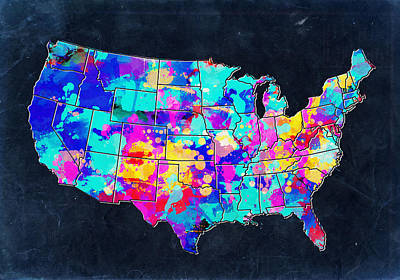 Abstract Map Digital Art - United States Colorful Map 2 by Bekim Art