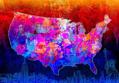 Abstract Map Digital Art - United States Colorful Map Collage by Bekim Art