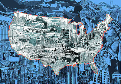 United States Drawing Collage Map 2 Print by Bekim Art