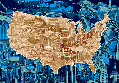 Abstract Map Digital Art - United States Drawing Collage Map  by Bekim Art