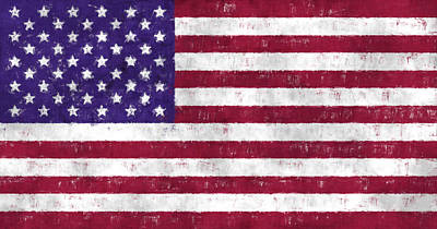 United States Flag Print by World Art Prints And Designs