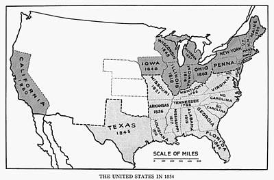 United States Map, 1854 Print by Granger
