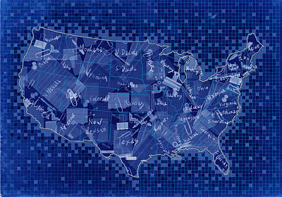 Abstract Map Digital Art - United States Map Collage 7 by Bekim Art