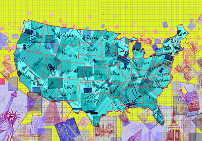 Abstract Map Digital Art - United States Map Collage by Bekim Art