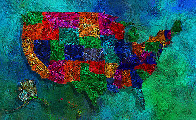 Puerto Rico Digital Art - United States Map by Jack Zulli
