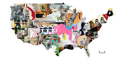 Mixed Media Mixed Media - United States Map by Michel Keck
