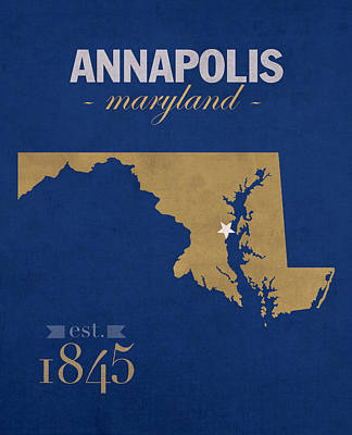 United States Naval Academy Navy Midshipmen Annapolis College Town State Map Poster Series No 070 Print by Design Turnpike