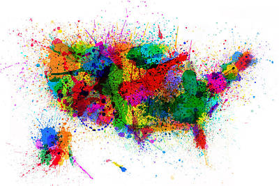 United States Paint Splashes Map Print by Michael Tompsett