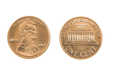 Lincoln Memorial Digital Art - United States Penny On White Background by Keith Webber Jr