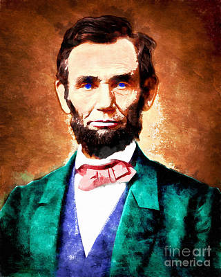 United States President Abraham Lincoln 20140914wc V1 Print by Wingsdomain Art and Photography