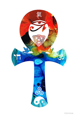 Ankh Painting - Unity 16 - Spiritual Artwork by Sharon Cummings