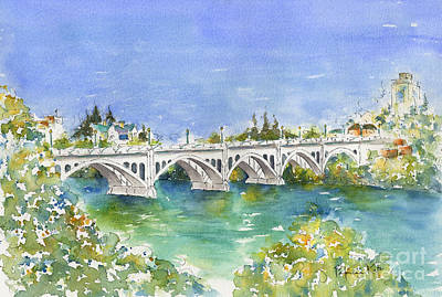 Burnt Sienna Painting - University Bridge by Pat Katz