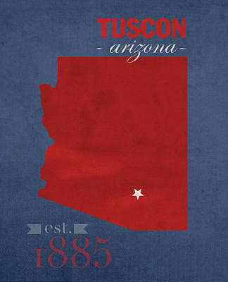 University Of Arizona Mixed Media - University Of Arizona Wildcats Tuscon Arizona College Town State Map Poster Series No 011 by Design Turnpike