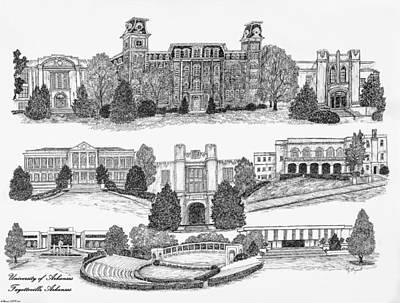 University Of Arkansas Digital Art - University Of Arkansas Fayetteville by Liz  Bryant