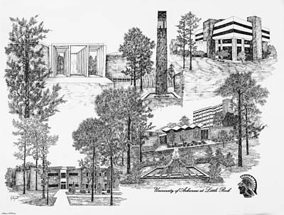 University Of Arkansas Digital Art - University Of Arkansas by Liz  Bryant