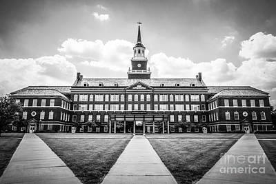 University Of Cincinnati Black And White Photo Print by Paul Velgos