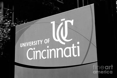 College Days Photograph - University Of Cincinnati Sign Black And White Picture by Paul Velgos