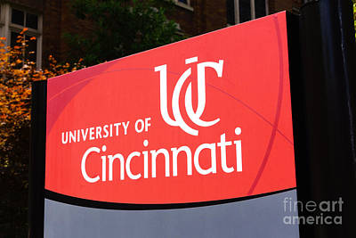 University Of Cincinnati Sign Print by Paul Velgos