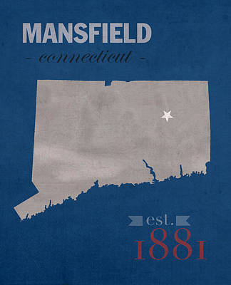 University Of Connecticut Huskies Mansfield College Town State Map Poster Series No 033 Print by Design Turnpike