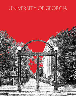 Bulldog Art Digital Art - University Of Georgia - Georgia Arch - Red by DB Artist