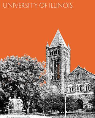 University Of Illinois Digital Art - University Of Illinois 2 - Altgeld Hall - Coral by DB Artist