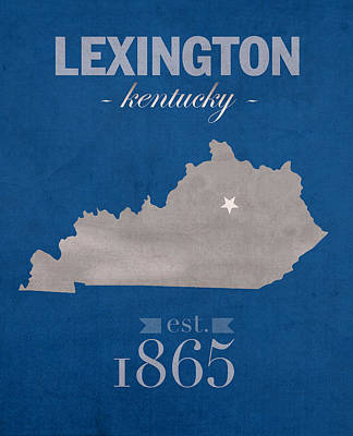 Lexington Mixed Media - University Of Kentucky Wildcats Lexington Kentucky College Town State Map Poster Series No 054 by Design Turnpike