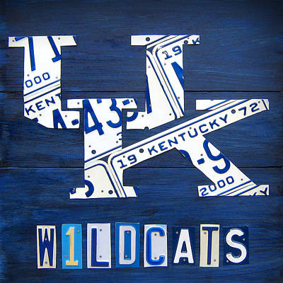 University Of Kentucky Wildcats Sports Team Retro Logo Recycled Vintage Bluegrass State License Plate Art Print by Design Turnpike