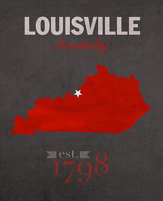 Cardinal Mixed Media - University Of Louisville Cardinals Kentucky College Town State Map Poster Series No 059 by Design Turnpike