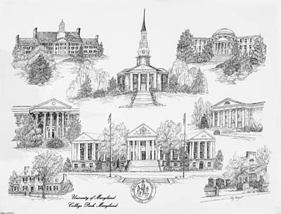 University Of Maryland Print by Liz  Bryant
