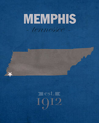 Tennessee Mixed Media - University Of Memphis Tigers Tennessee College Town State Map Poster Series No 063 by Design Turnpike