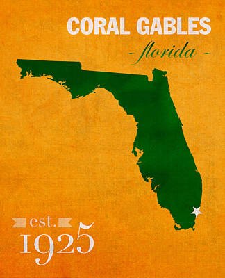 Florida State Mixed Media - University Of Miami Hurricanes Coral Gables College Town Florida State Map Poster Series No 002 by Design Turnpike