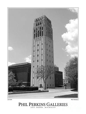 University Of Michigan Digital Art - University Of Michigan Clock Tower 2 by Phil Perkins
