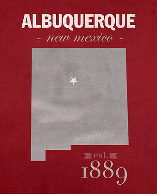 New Mexico Mixed Media - University Of New Mexico Albuquerque Lobos College Town State Map Poster Series No 074 by Design Turnpike
