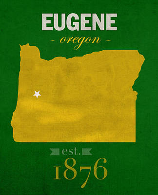 Ducks Mixed Media - University Of Oregon Ducks Eugene College Town State Map Poster Series No 086 by Design Turnpike