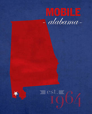 University Of South Alabama Jaguars Mobile College Town State Map Poster Series No 095 Print by Design Turnpike
