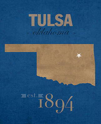 Tulsa Mixed Media - University Of Tulsa Oklahoma Golden Hurricane College Town State Map Poster Series No 115 by Design Turnpike