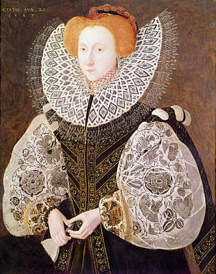 Unknown Girl, Aged 20, 1587 Oil On Panel Print by John, the Younger Bettes
